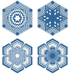 set of simple geometric design elements blue vector image