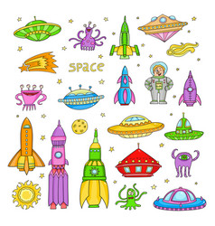 set with cartoon space objects- ufo rockets vector image
