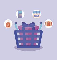 shopping basket and set icons vector image