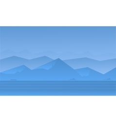 Silhouette of blue mountain landscape vector