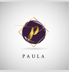 simple elegance initial letter p gold logo type vector image