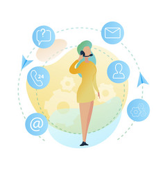 standing woman worker call center vector image