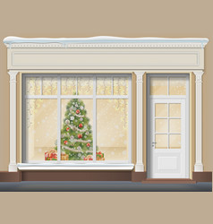 storefront with showcase decorated for christmas vector image