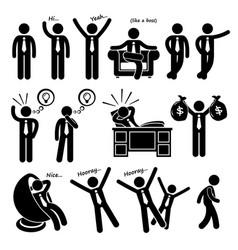 successful happy businessman poses stick figure vector image