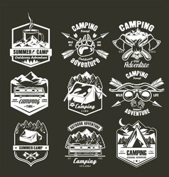 summer camping label set monochrome vector image