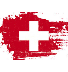 swiss scratched flag vector image