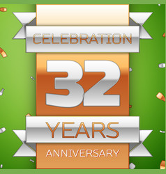 thirty two years anniversary celebration design vector image