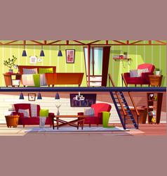 Two storey loft rooms interior vector