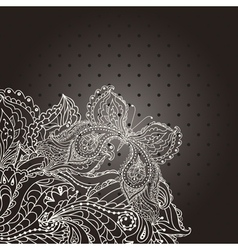 Vintage wedding invitation with lace paisley vector image