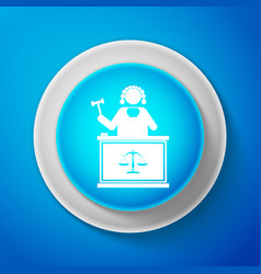 white judge with gavel on table icon vector image