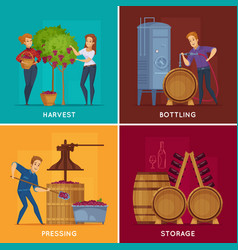 Winery wine production cartoon concept vector