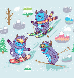 Winter skii pattern design with fun monsters vector