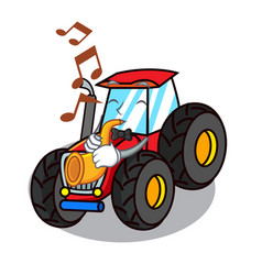 With trumpet tractor mascot cartoon style vector