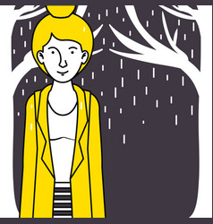 woman walking in the rain vector image