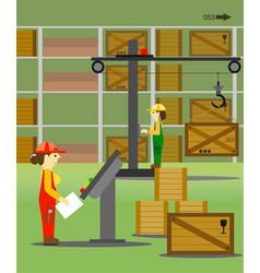 women - workers in the warehouse vector image