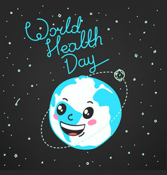World health day celebration card vector