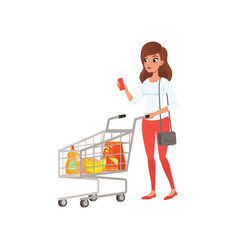 Young woman pushing supermarket shopping cart with vector
