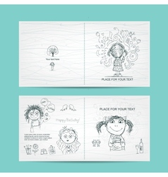 Birthday card template with cute girls sketch for vector image vector image