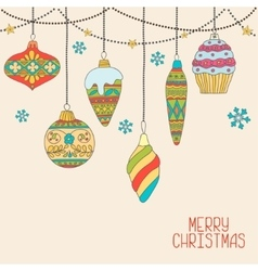 Christmas hand drawn decorative balls vector image vector image