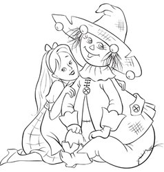 dorothy and scarecrow wizard of oz outlined vector image vector image