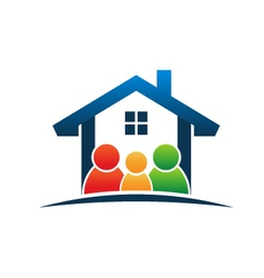 Family in house logo vector image vector image
