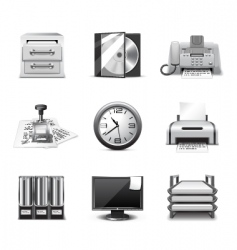 office icons | bw series vector image
