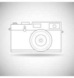 Retro photo camera outline vector image