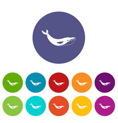 shark fish icons set flat vector image vector image
