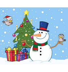 Snowman With A Cute Birds And Christmas Tree vector image vector image