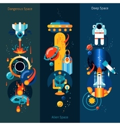 Space banner set vector image