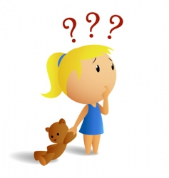 surprised girl with teddy bear vector image