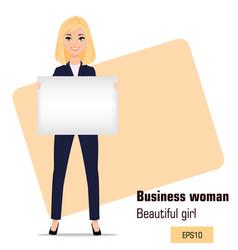 Young cartoon businesswoman standing beautiful vector