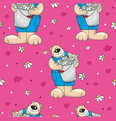 Pattern with teddy bears on pink background vector