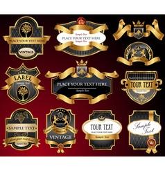 Vintage gold black labels vector image