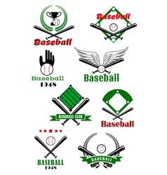 Baseball game sporting emblems and symbols vector image