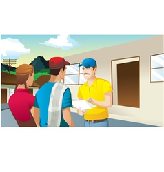farmers making business in front of house man vector image vector image