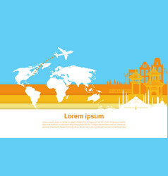 plane flying over world map to china city tourism vector image