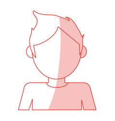 red silhouette shading cartoon faceless half body vector image vector image
