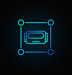robot head in square blue icon or logo vector image