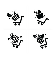 Shopping cart icons and damage vector