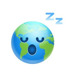 cartoon earth face tired sleeping icon funny vector image vector image