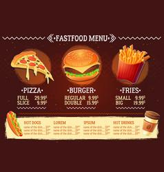cartoon of a design fast food vector image vector image