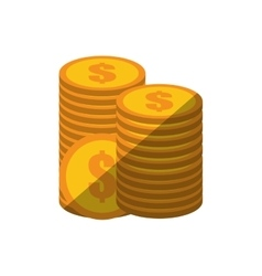 coins stack money golden color shadow vector image