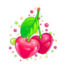 glossy cherry hearts vector image vector image
