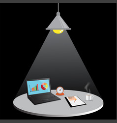 Laptop computer with document file vector