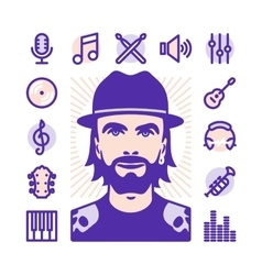 musician Icons vector image vector image