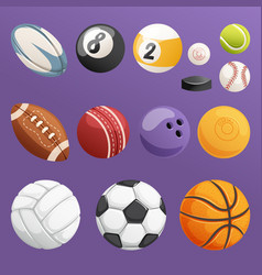 set of sport balls isolated collection vector image vector image