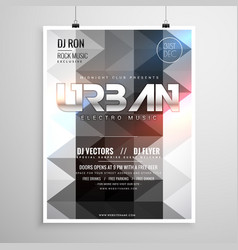 Urban music party flyer template with abstract vector