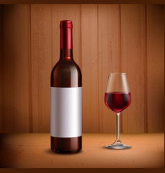 Wine Bottle Template With Glass Of Red Wine vector image