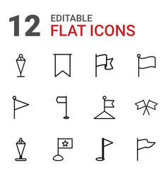 12 pennant icons vector image